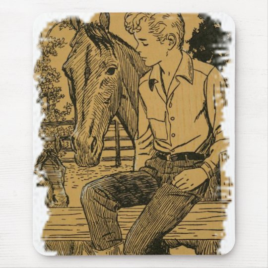 Young Cowboy and His Horse Mouse Mat