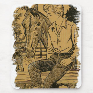Young Cowboy and His Horse Mousepads