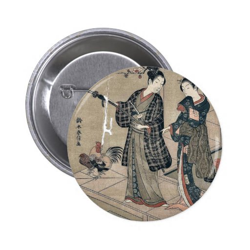 Young dandy and a beauty by Suzuki,Harunobu Pinback Buttons