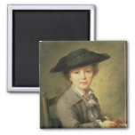 Young draughtsman in black hat, 18th century magnet