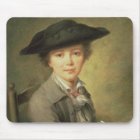 Young draughtsman in black hat, 18th century mouse mat