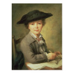 Young draughtsman in black hat, 18th century postcard