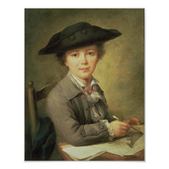 Young draughtsman in black hat, 18th century poster