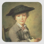 Young draughtsman in black hat, 18th century square sticker