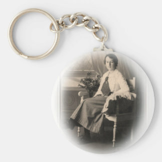 Young Edwardian Lady Early 20th Century Basic Round Button Key Ring