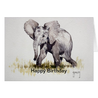 Young Elephant Happy Birthday Card