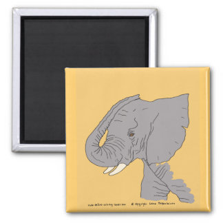Young Elephant Square Magnet