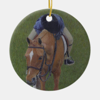 Young Equestrian Rider and Pony Christmas Ornament