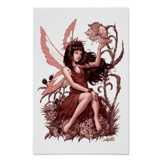 Young Fairy with Flowers by Al Rio Poster