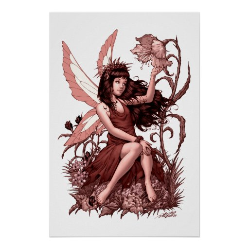 Young Fairy with Flowers by Al Rio Print