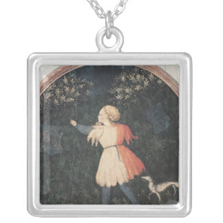 Young falconer, Florentine School Silver Plated Necklace