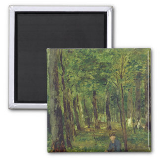 Young Farmer sitting in the Forest, 1878 Square Magnet