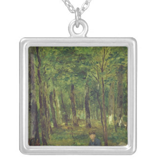 Young Farmer sitting in the Forest, 1878 Silver Plated Necklace