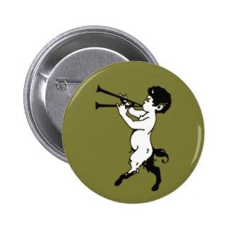Young Faun With Double Flute 6 Cm Round Badge