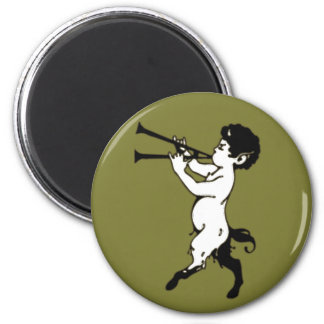 Young Faun With Double Flute 6 Cm Round Magnet
