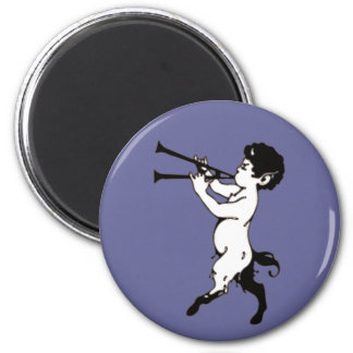 Young Faun With Double Flute Clr 6 Cm Round Magnet