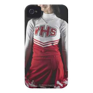 Young female cheerleader holding pom-poms, mid Case-Mate iPhone 4 cases