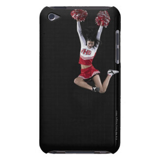 Young female cheerleader jumping in midair, arms 2 barely there iPod cases