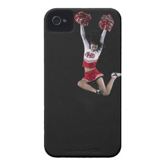 Young female cheerleader jumping in midair, arms 2 iPhone 4 Case-Mate case