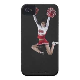 Young female cheerleader jumping in midair, arms Case-Mate iPhone 4 case