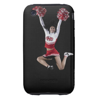 Young female cheerleader jumping in midair, arms iPhone 3 tough cases