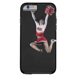 Young female cheerleader jumping in midair, arms tough iPhone 6 case