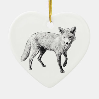 Young Fox Sketch Christmas Ornament