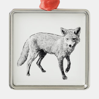 Young Fox Sketch Silver-Colored Square Decoration