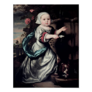 Young girl at a fountain, 1662 poster