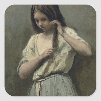 Young Girl at her Toilet Square Sticker