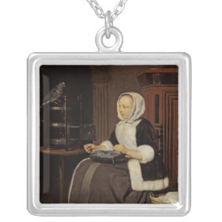 Young Girl at Work Silver Plated Necklace