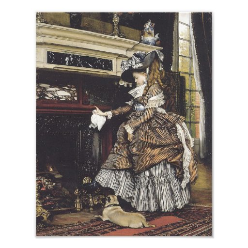 """""""Young Girl by Fireplace with Her Pug Dog"""" Tissot Photo Art"""