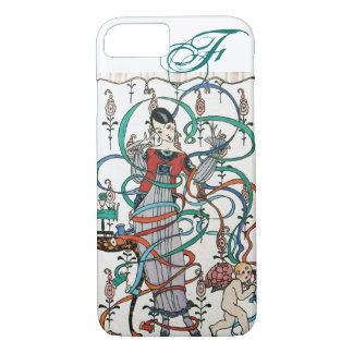 YOUNG GIRL ,COLORFUL RIBBON SWIRLS ,CUPID Monogram iPhone 7 Case