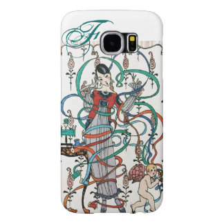 YOUNG GIRL ,COLORFUL RIBBON SWIRLS ,CUPID Monogram Samsung Galaxy S6 Cases