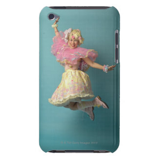 Young girl dressed up in colourful, doll-like, iPod Case-Mate case
