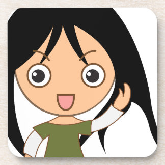 Young girl drink coaster