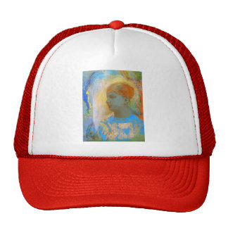 Young Girl Facing Left by Odilon Redon Mesh Hats