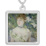 Young girl in a ball gown, 1879 square pendant necklace