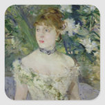Young girl in a ball gown, 1879 square sticker