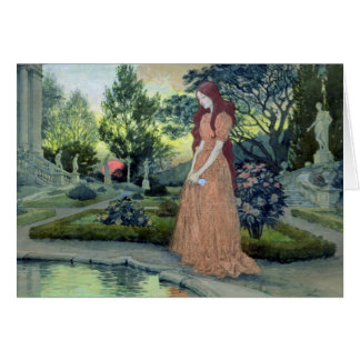 Young girl in a garden (w/c) card