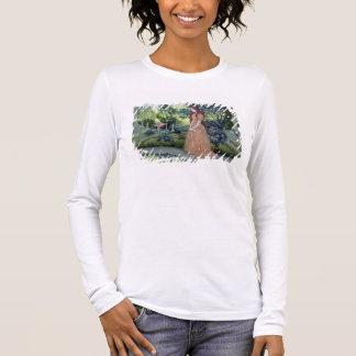 Young girl in a garden (w/c) long sleeve T-Shirt