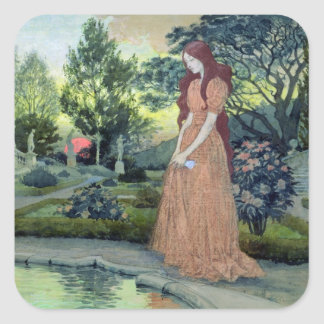 Young girl in a garden (w/c) square sticker