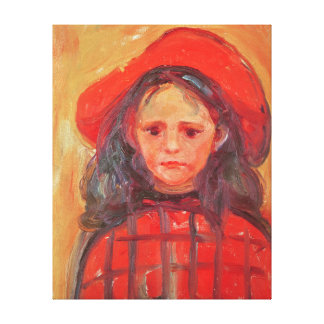 Young Girl in a Red Hat Canvas Print