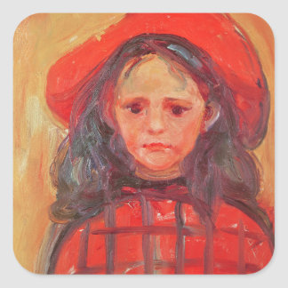 Young Girl in a Red Hat Square Sticker