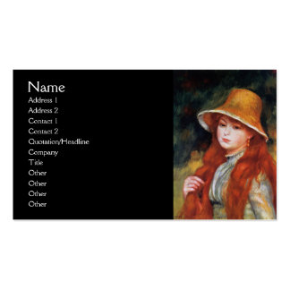 Young Girl in a Straw Hat by Renoir Pack Of Standard Business Cards