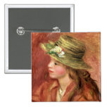 Young Girl in a Straw Hat, c.1908 Pinback Button