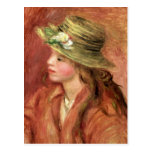 Young Girl in a Straw Hat, c.1908 Postcard