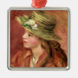 Young Girl in a Straw Hat, c.1908 Silver-Colored Square Decoration