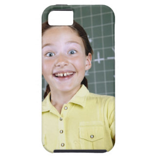 young girl in front of blackboard having idea iPhone 5 case
