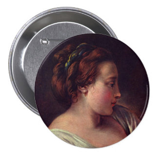 Young Girl Jeune fille by Francois Boucher 7.5 Cm Round Badge
